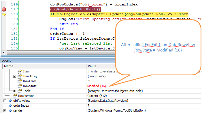 vb.net rowstate modified after calling endedit